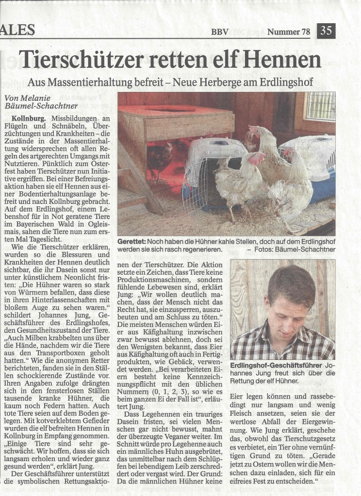 Artikel Bayernwald Bote vom 04.04.2015