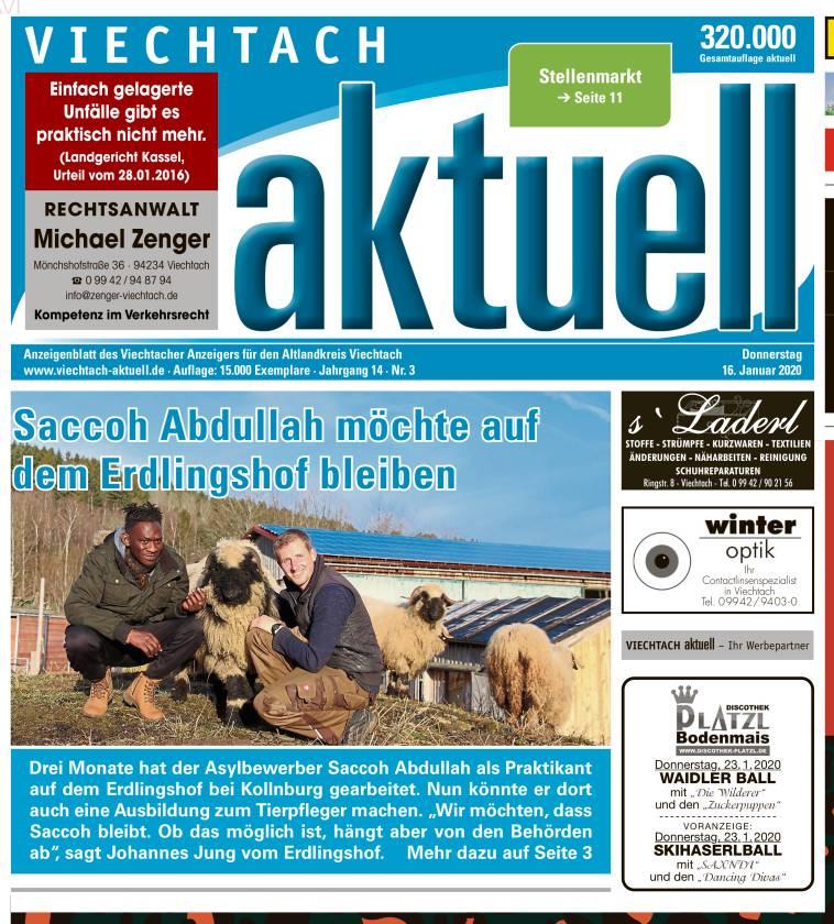 Saccoh auf Titelseite der Viechtach Aktuell