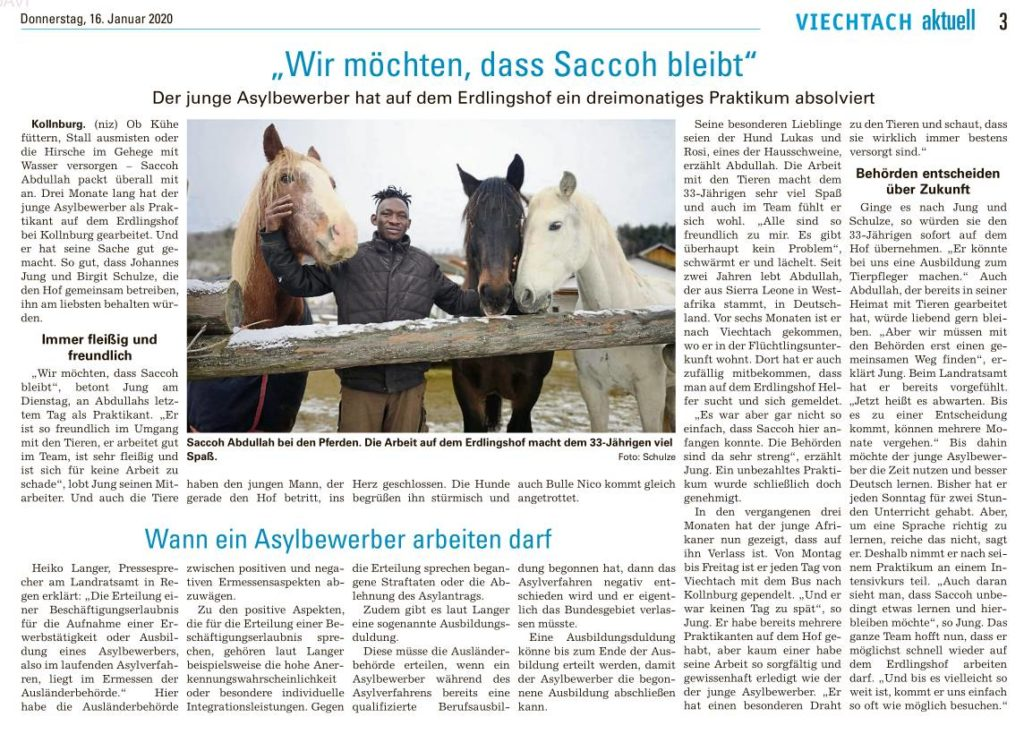 Artikel über Asylbewerber Saccohs Praktikum auf dem Erdlingshof