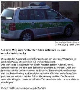 Bericht auf PASSAU24.de vom 31.03.2020