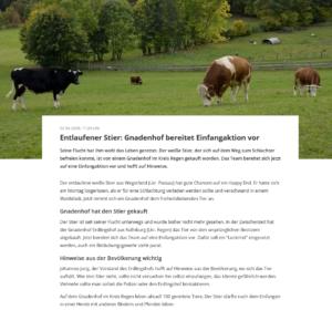 Der Bayerische Rundfunk berichtet über die Vorbereitung von Ferdinands Einfangaktion