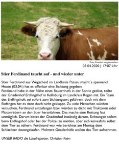 Bericht über Ferdinands erste Sichtung seit dem Tag seines Entkommens aus der Tötungsbox