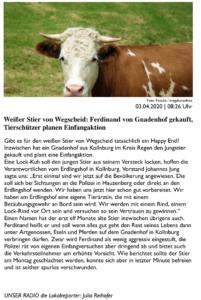 Bericht auf PASSAU24.de über den Beginn der Suche nach Ferdinand