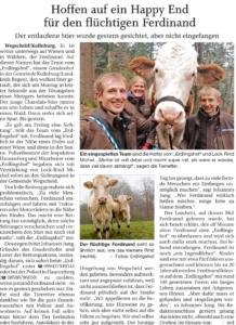 Artikel in der Printausgabe der Passauer neuen Presse vom 03.04.2020 über Jungstier Ferdinand