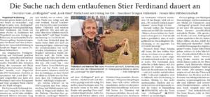 Bericht über die Unterstützung der Wegscheider Bevölkerung bei der Suche nach Stier Ferdinand