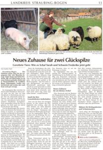 Zeitungsbericht über Schaf Sarahs neues Leben auf dem Erdlingshof