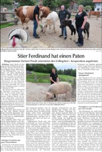 Bericht über den Besuch des Kollnburger Bürgermeisters Herbert Preuß und seine Patenschaft für Ferdinand