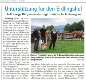 Pressebericht über den Antrittsbesuch des Kollnburger Bürgermeisters auf dem Erdlingshof