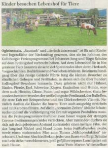 Presseartikel über den Besuch von Kindern anlässlich des Kollnburger Ferienprogramms